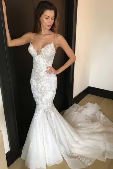 Spaghetti Strap Tulle Wedding Dress  Mermaid Spaghetti Straps Court Train Ivory Tulle Wedding