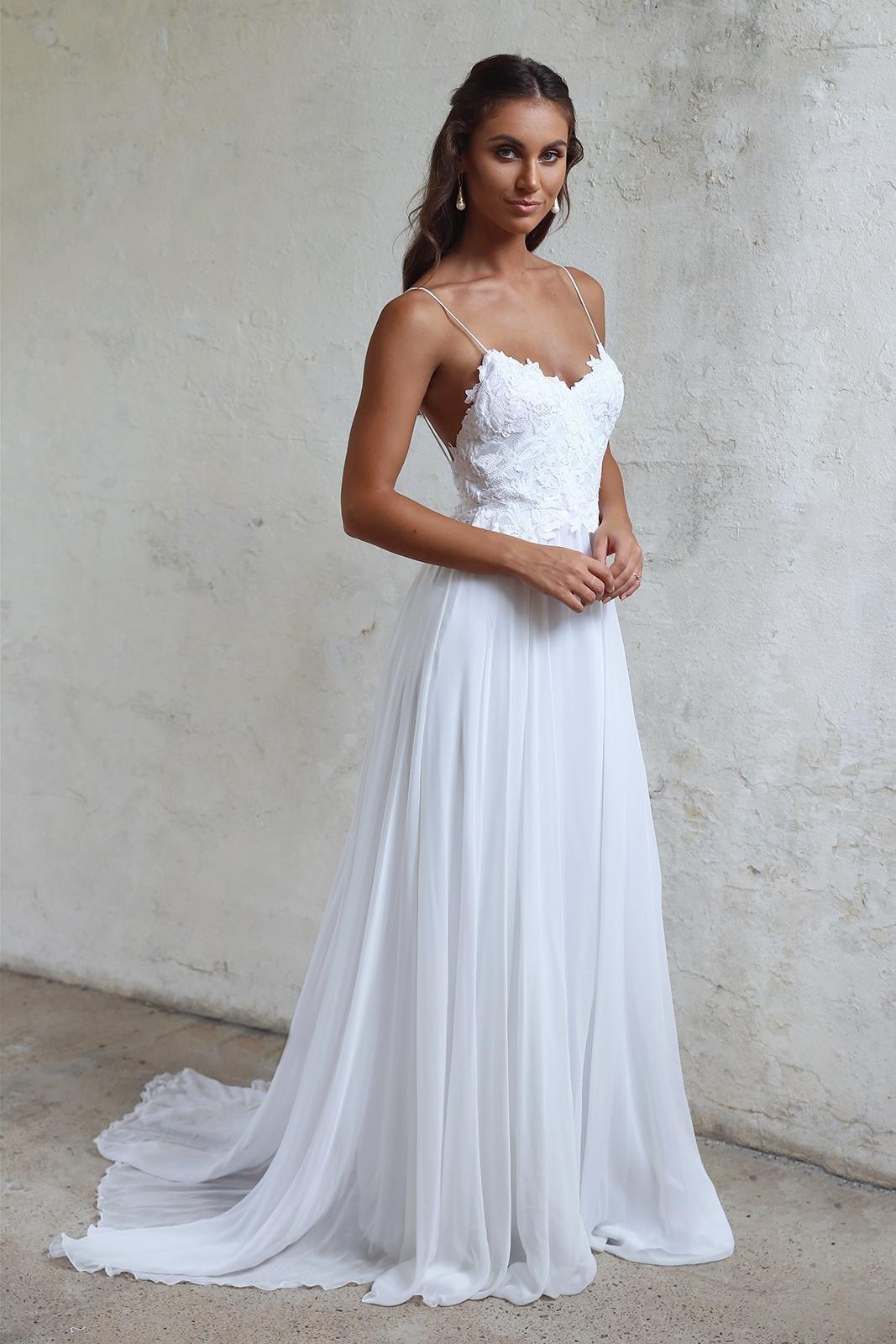 Spaghetti Strap Wedding Dresses  Simple A line Spaghetti Straps Open Back Summer Wedding Dress