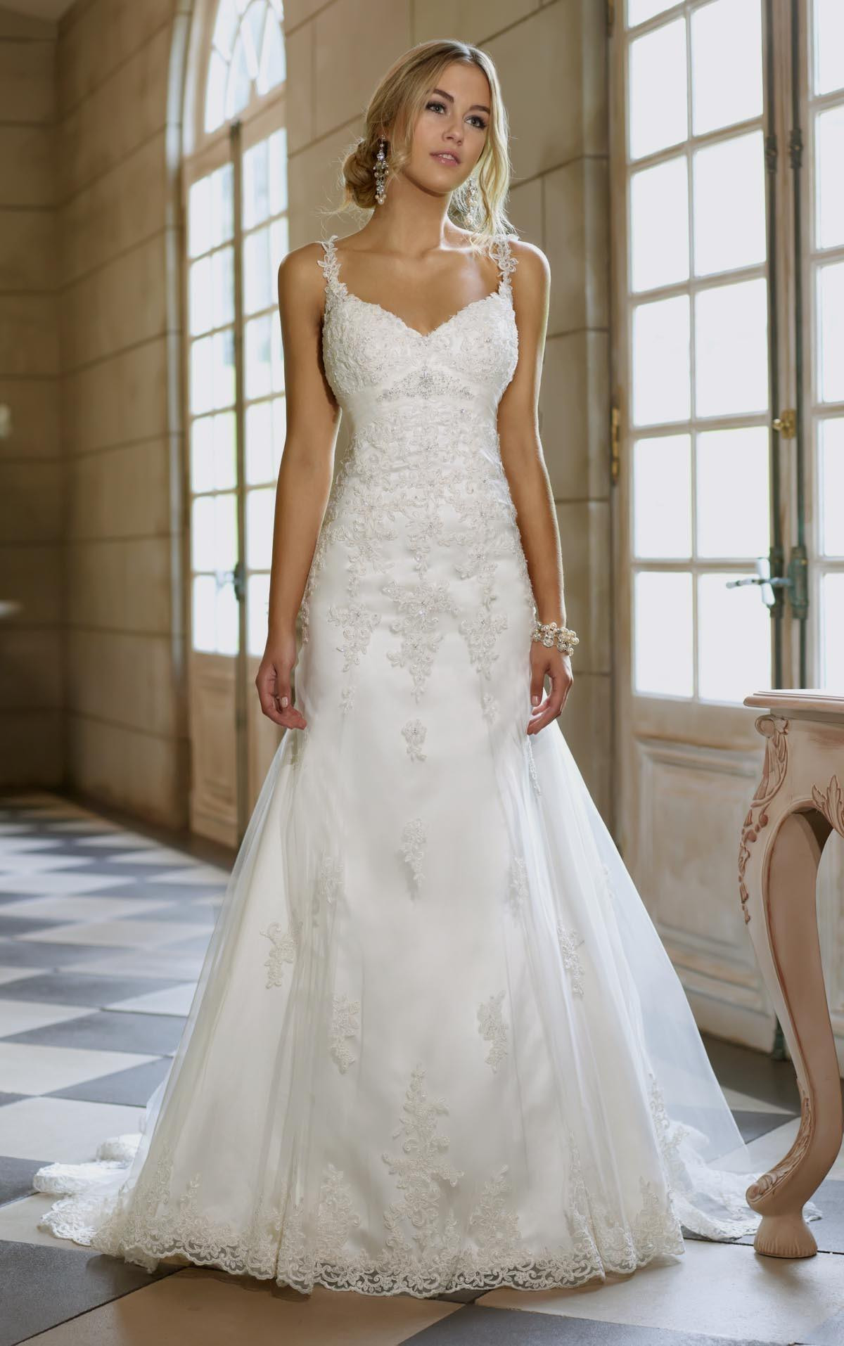 Spaghetti Strap Wedding Gown  a line wedding dress with lace straps Naf Dresses
