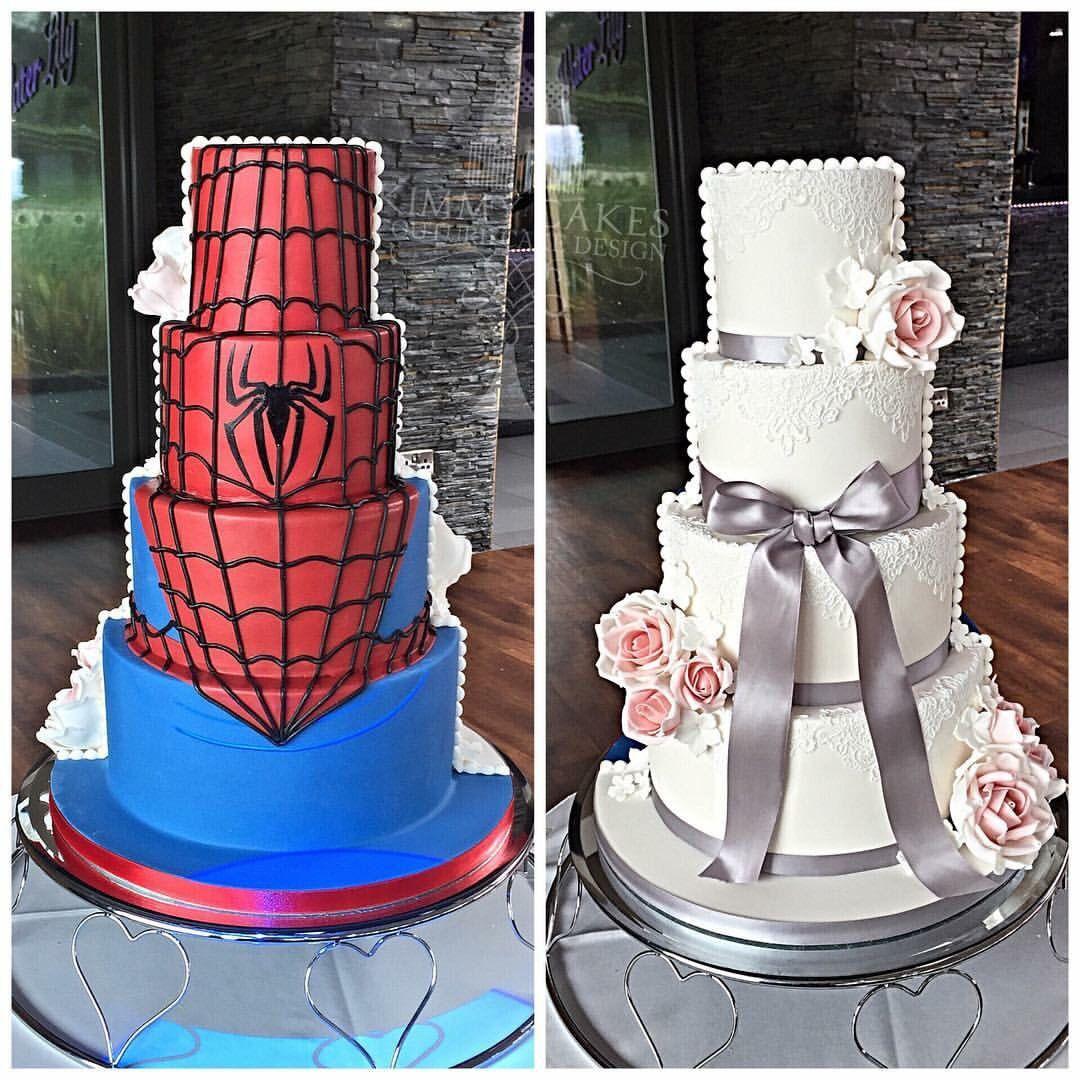Spiderman Wedding Cakes  Half and half wedding cake marvel spiderman