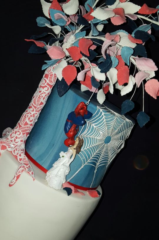 Spiderman Wedding Cakes  Spiderman wedding cake cake by Five Starr Cakes