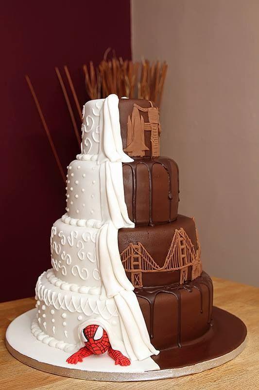 Spiderman Wedding Cakes  Spider man Chocolate Travel Inspired half and half
