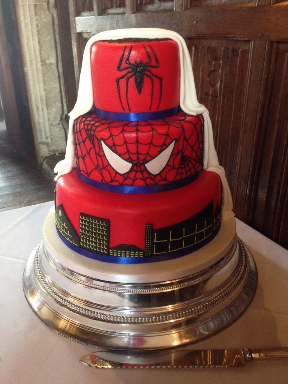 Spiderman Wedding Cakes  Hidden Spiderman Wedding Cake