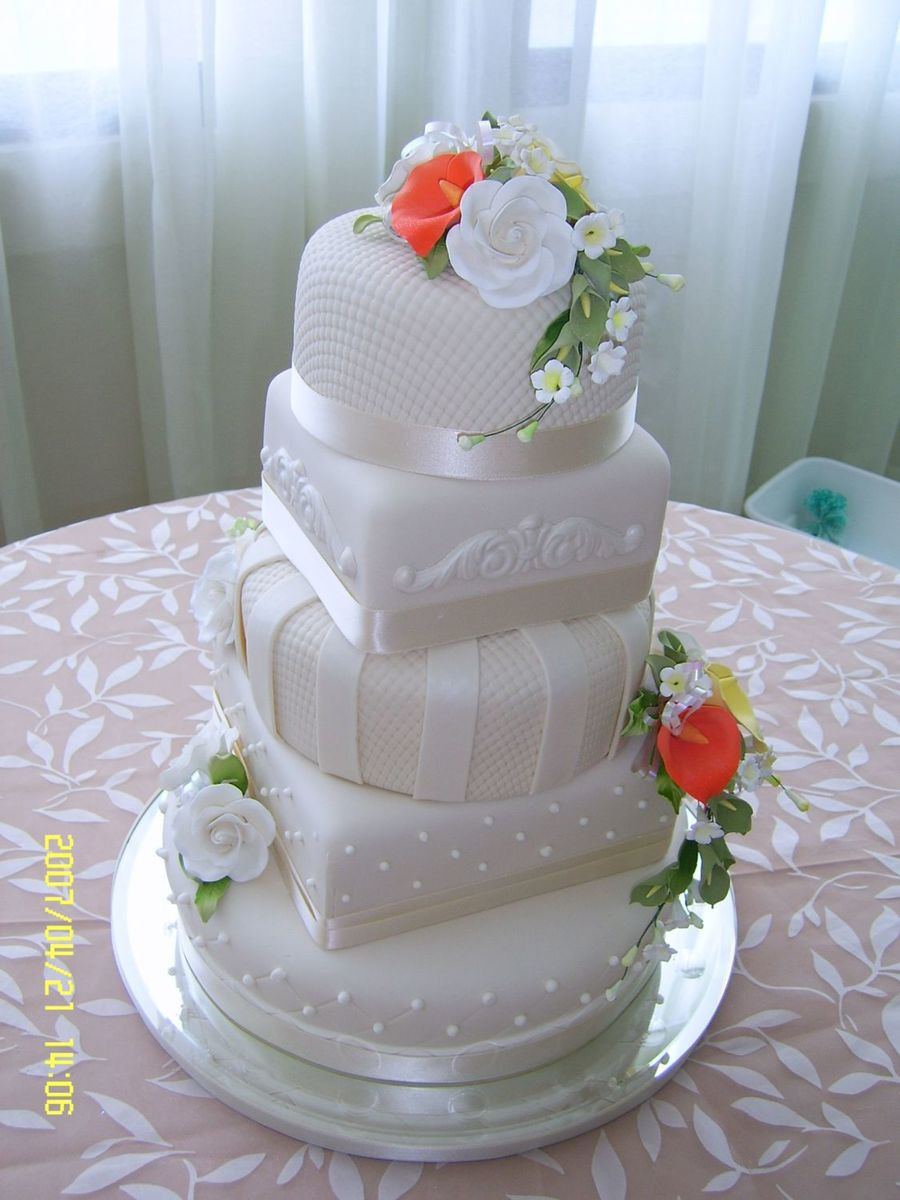 Square And Round Wedding Cakes  Square And Round Shapes Wedding Cake CakeCentral