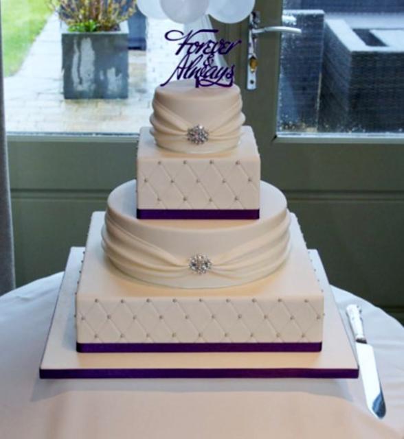 Square And Round Wedding Cakes  Elegant Round & Square Wedding Cake wiht Forever & Always