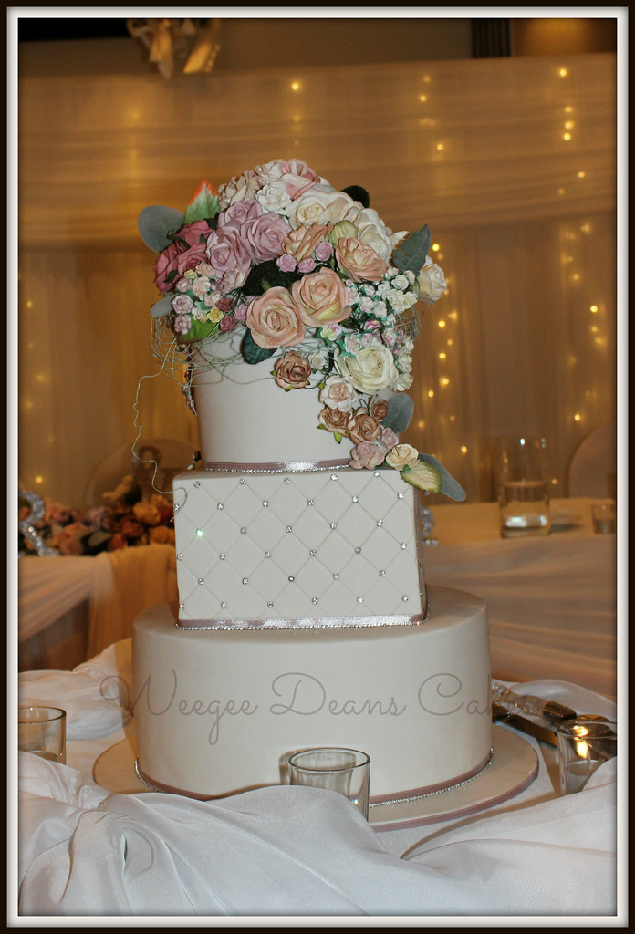 Square And Round Wedding Cakes  Flowers and Bling Round and square Wedding Cake