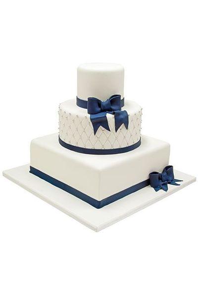 Square And Round Wedding Cakes  White fondant wedding cake with square and round tiers