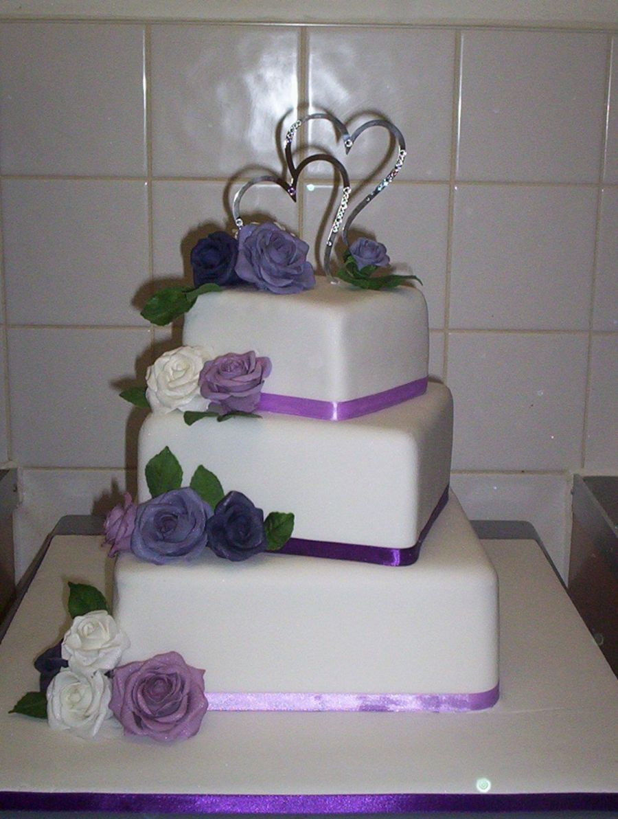 Square Tiered Wedding Cakes  Purple lilac Roses Square 3 Tier Wedding Cake