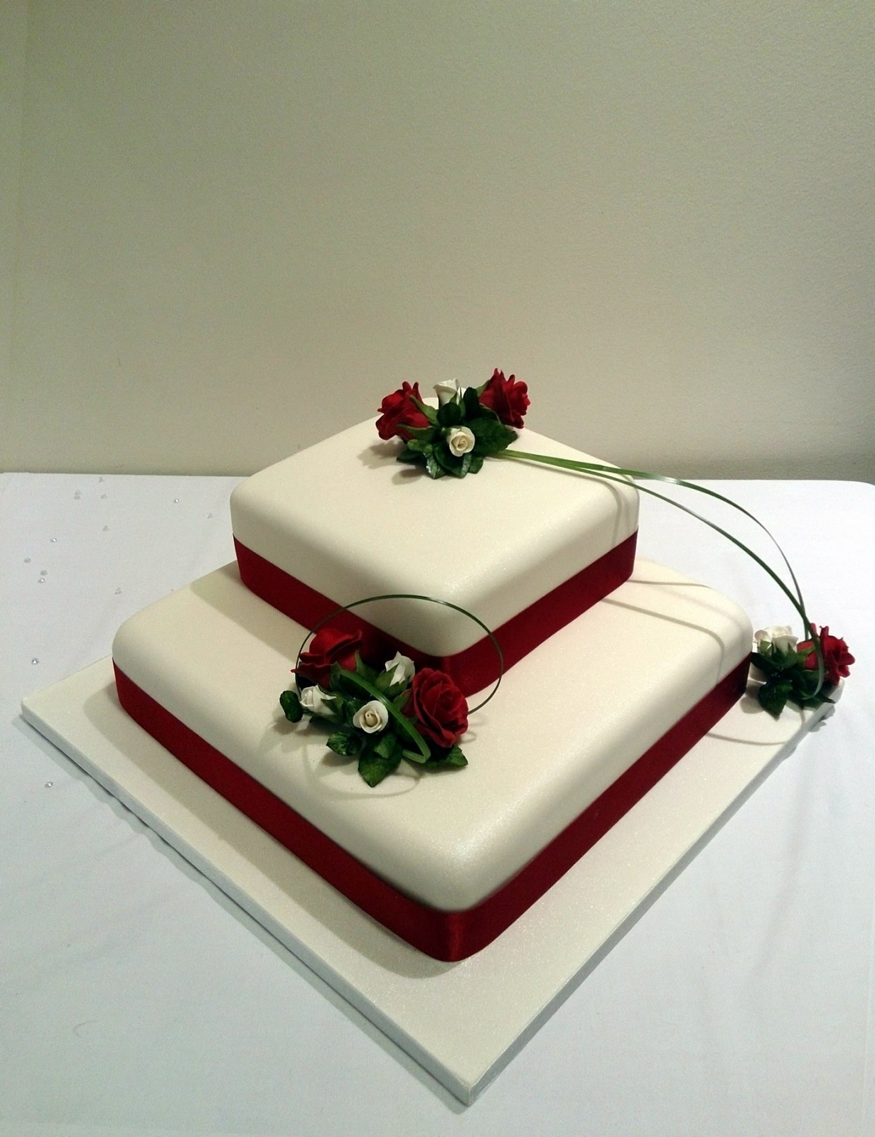Square Tiered Wedding Cakes  2 Tier Square Stacked Wedding Cake With Deep Red Rose