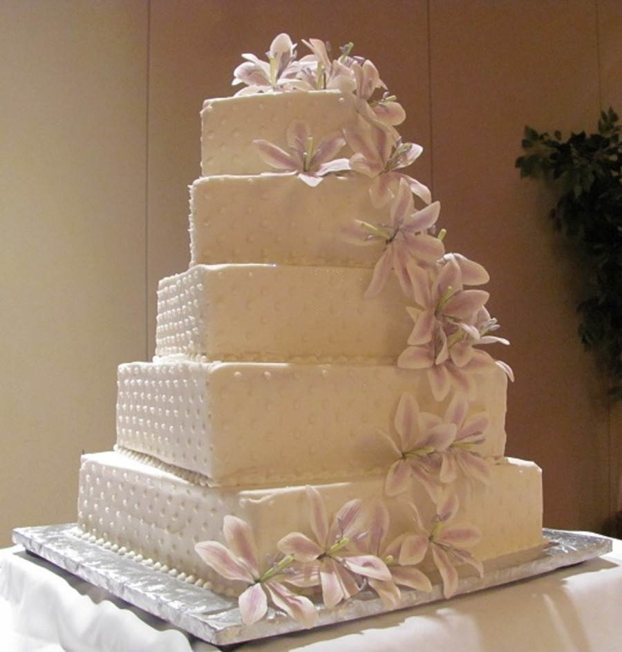 Square Tiered Wedding Cakes  5 Tier Square Wedding Cake CakeCentral