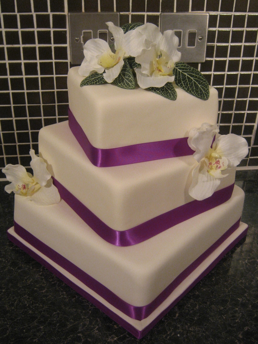 Square Tiered Wedding Cakes  3 Tier Square Wedding Cake CakeCentral