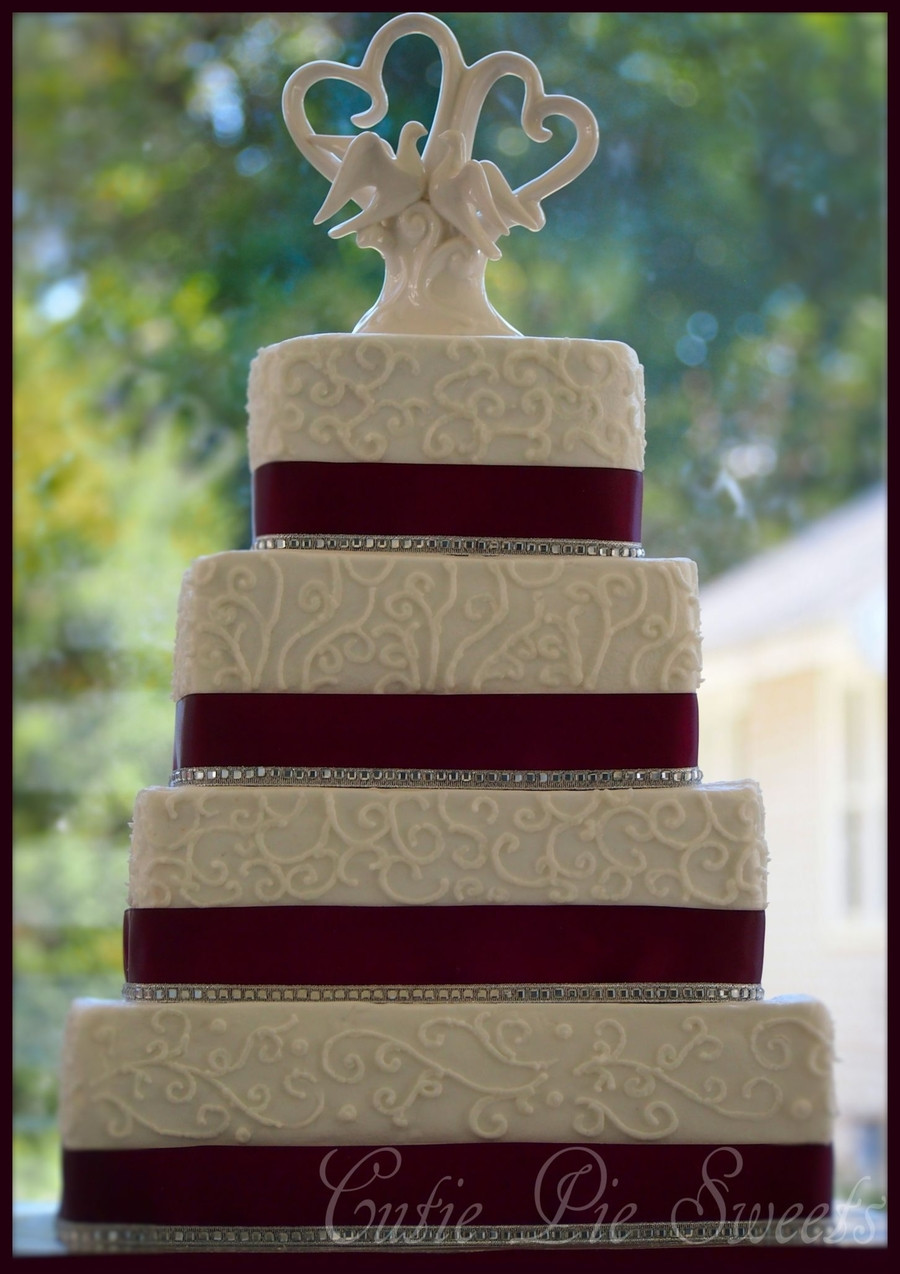 Square Tiered Wedding Cakes  4 Tiered Plum Square Scrolled Wedding Cake CakeCentral
