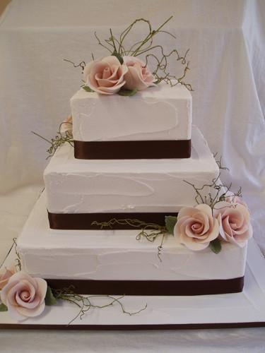 Square Wedding Cakes Pictures  3 Tier square wedding cakes white style Wedding Ideas