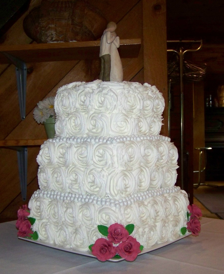 Square Wedding Cakes Pictures  Roses Square Wedding Cake CakeCentral
