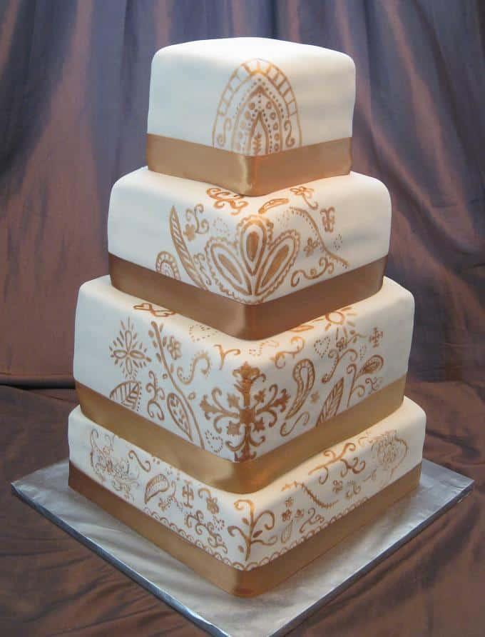 Square Wedding Cakes Pictures  Top 33 Fantastic Henna Wedding Cake Designs SheIdeas