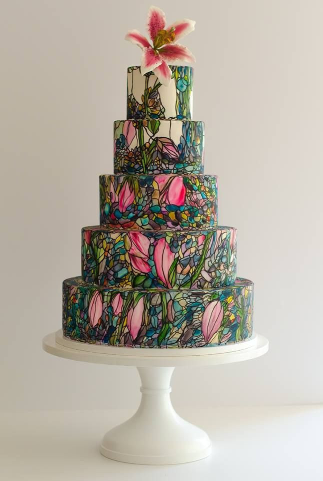 Stained Glass Wedding Cakes  Maggie Austin hand painted stained glass style wedding