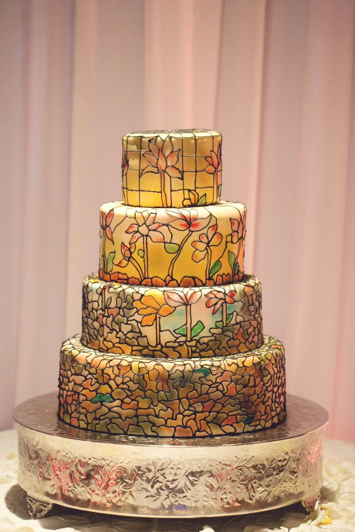 Stained Glass Wedding Cakes  Pastel Stained Glass Wedding Cake