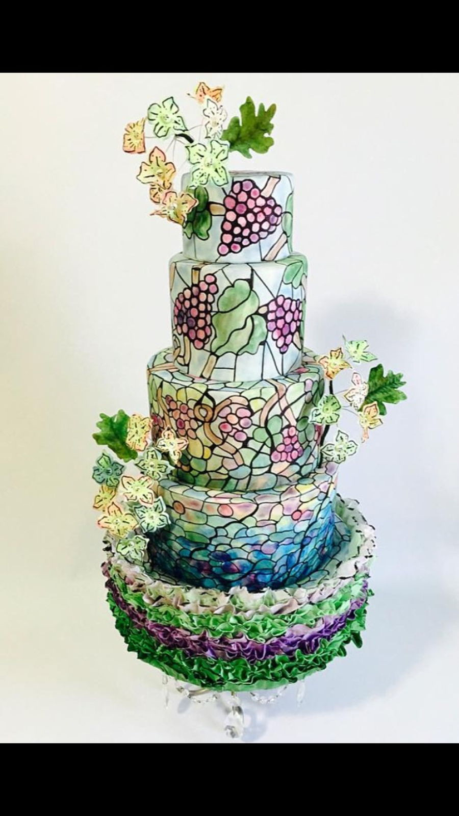 Stained Glass Wedding Cakes  Vinyard Theme Stained Glass Wedding Cake CakeCentral