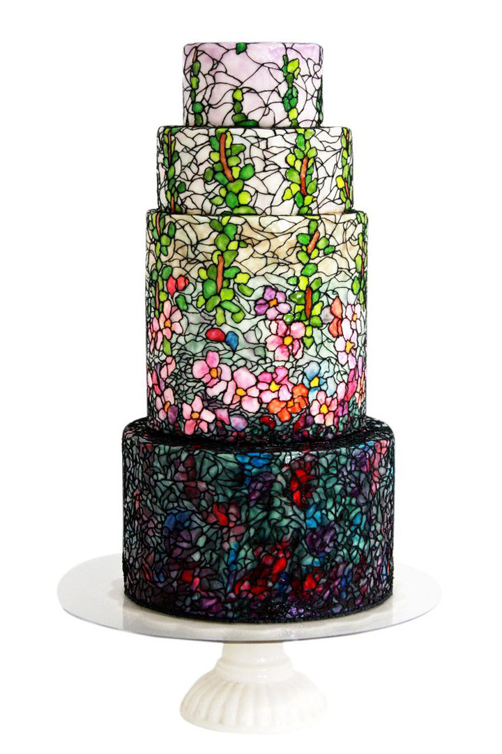 Stained Glass Wedding Cakes  Signature Stained Glass Wedding Cakes from Queen of Hearts