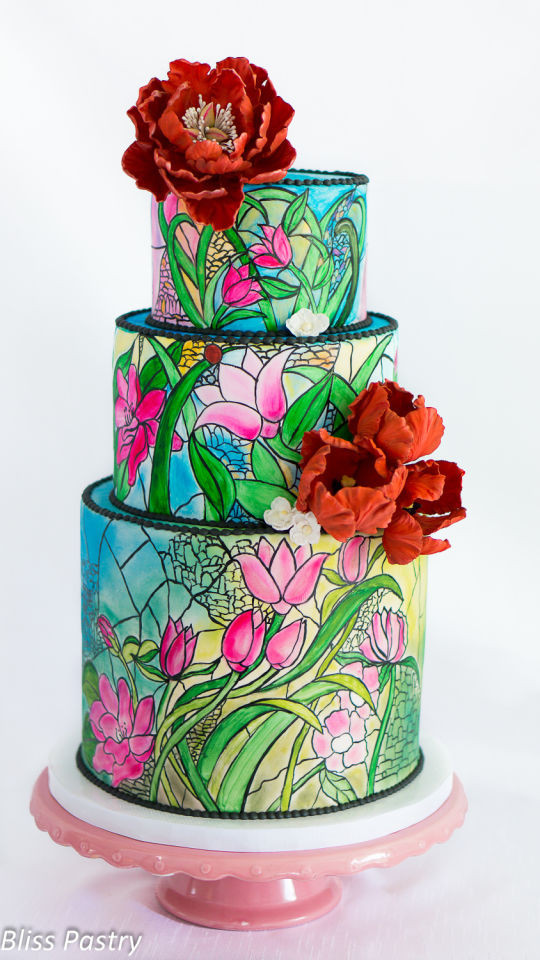 Stained Glass Wedding Cakes  Stained Glass Wedding Cake Cake by Bliss Pastry CakesDecor