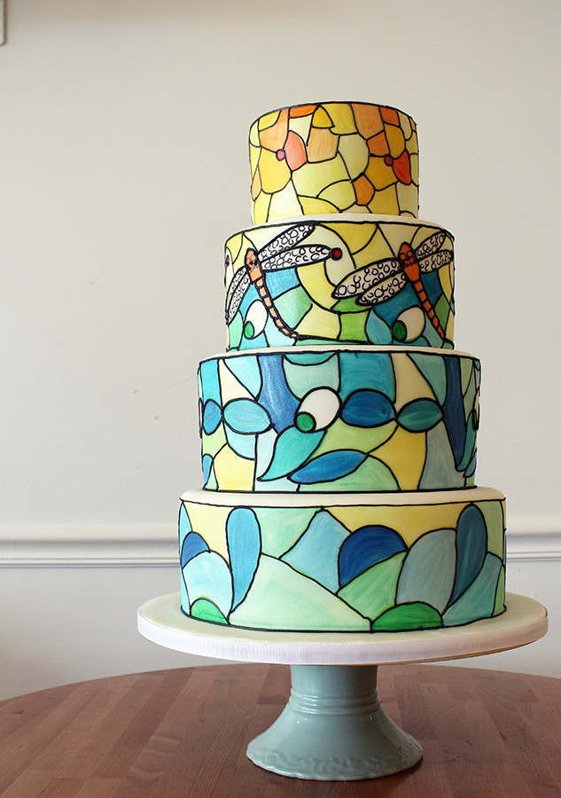 Stained Glass Wedding Cakes  Hand painted Tiffany Lamp Inspired Wedding Cake