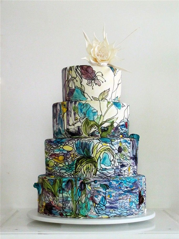 Stained Glass Wedding Cakes  27 Eye popping Painted Wedding Cakes For 2016