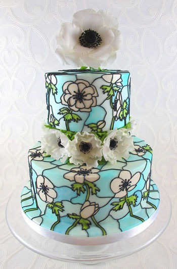 Stained Glass Wedding Cakes  Stained Glass Effect Cake Tutorial CakeCentral