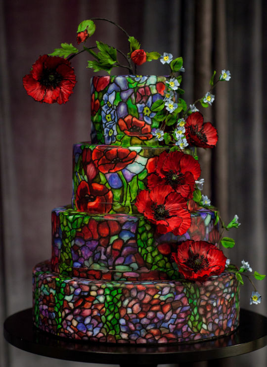 Stained Glass Wedding Cakes  Stained Glass Wedding Cake cake by Alex Narramore The