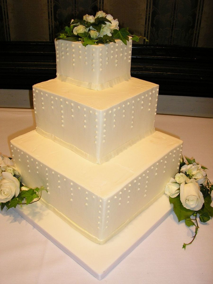 Staircase Wedding Cakes  Staircase Wedding Cake With Swiss Dots CakeCentral
