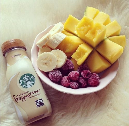 Starbucks Healthy Breakfast  healthy fruity snack alongside a Starbucks Frappuccino