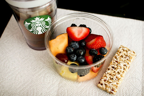 Starbucks Healthy Breakfast  fruit and coffee Healthy breakfast brunch Starbucks