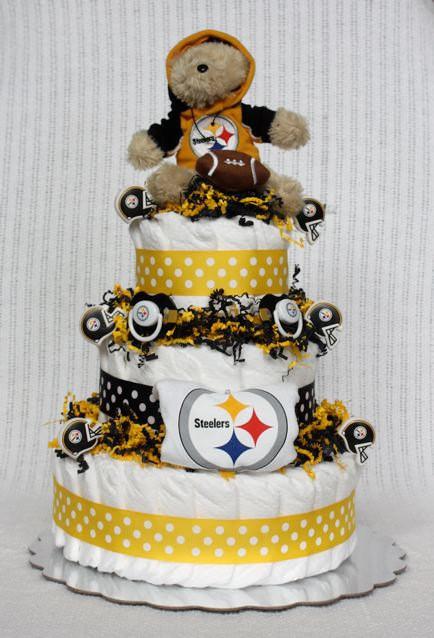 Steeler Wedding Cakes  Pittsburgh Steelers Diaper Cake by BabyBootyDiaperCakes