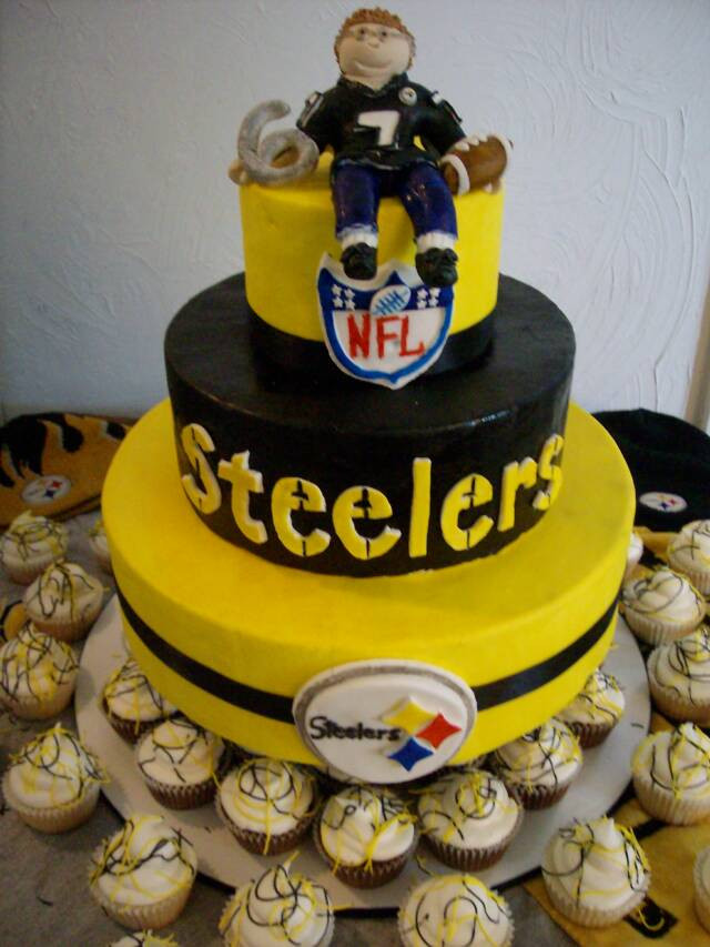 Steeler Wedding Cakes  Does anyone know of a cute grooms cake