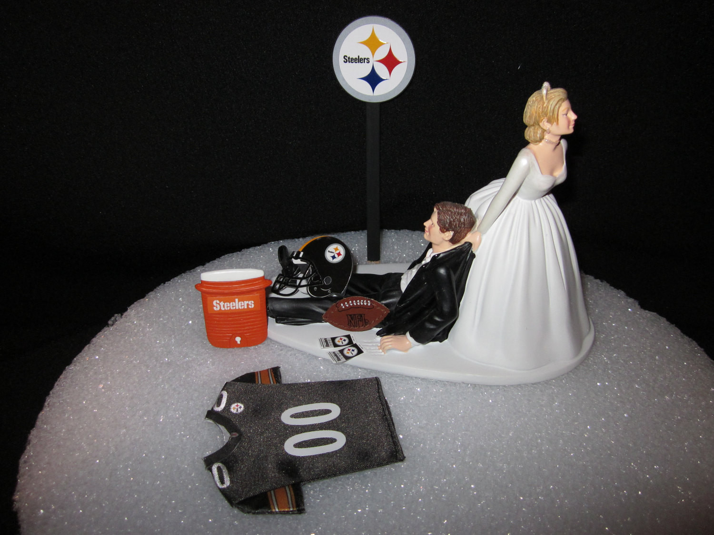 Steeler Wedding Cakes  Pittsburgh Steelers Wedding Cake Topper Bride Groom Jersey