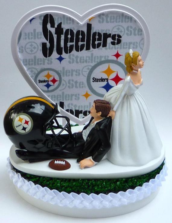 Steeler Wedding Cakes  Wedding Cake Topper Pittsburgh Steelers Football Themed w