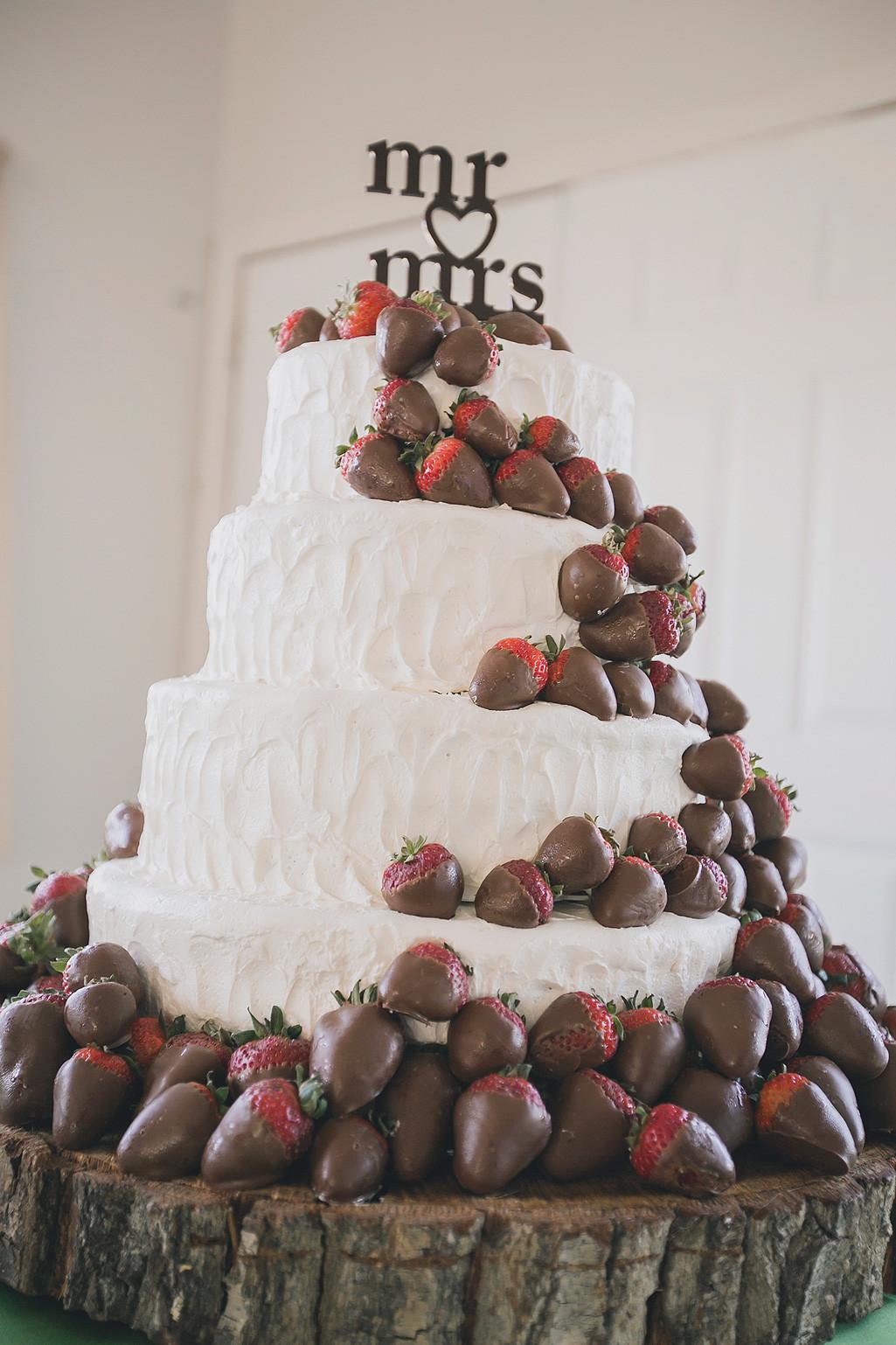 Strawberry Wedding Cake  Bright DIY Fall WeddingTruly Engaging Wedding Blog