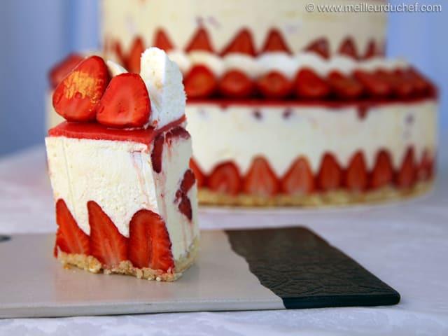 Strawberry Wedding Cake Recipe  Fraisier Strawberry Wedding Cake Recipe with images