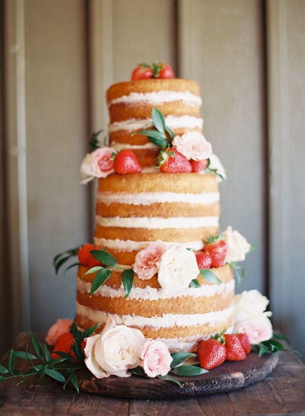 Strawberry Wedding Cake Recipe  392 best Naked Rustic wedding cakes images on Pinterest