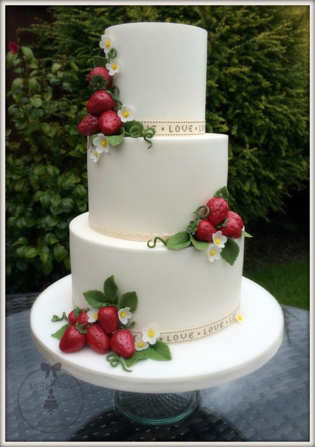Strawberry Wedding Cake  A Wimbledon Wedding Cake Cake by Kirsty CakesDecor