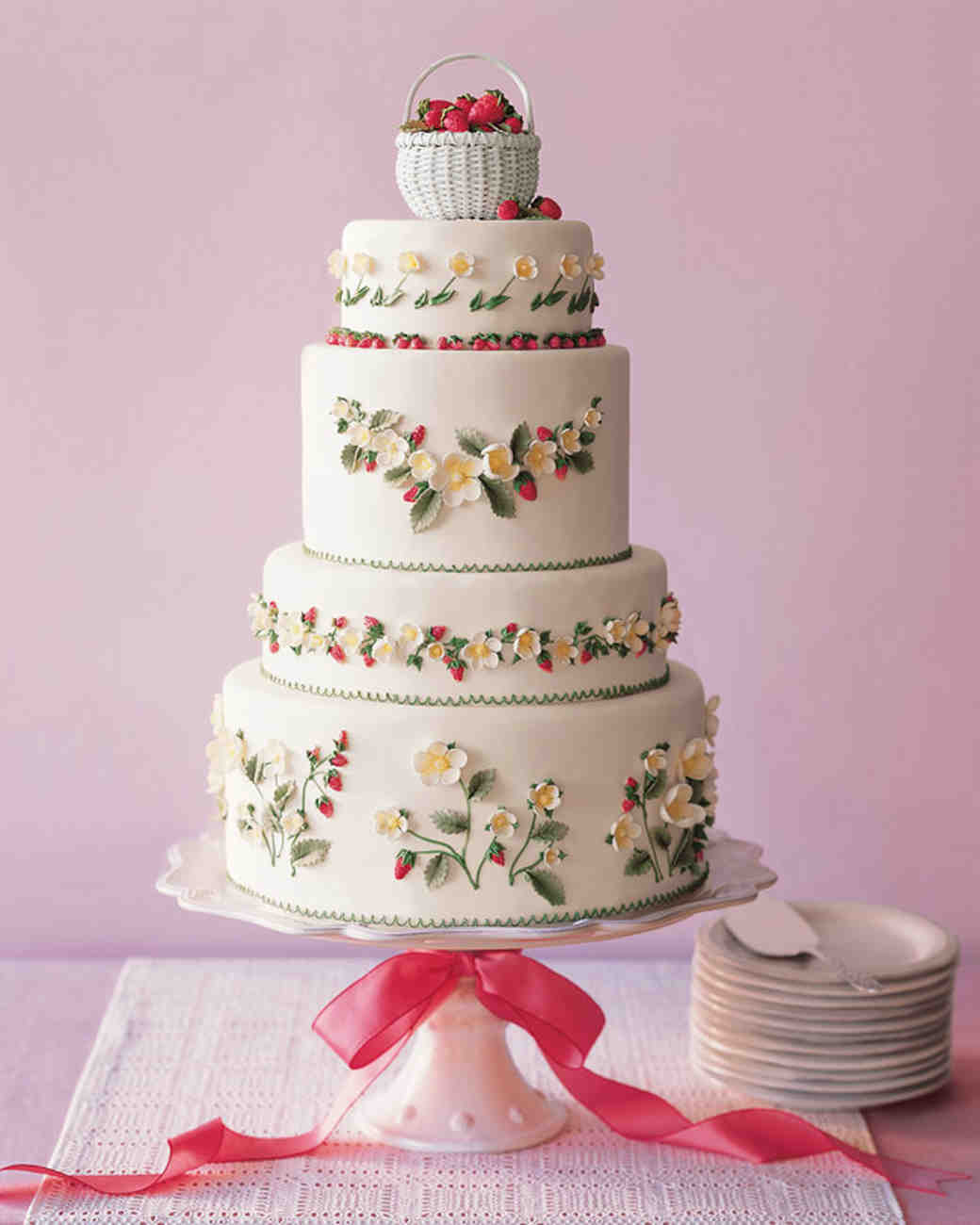 Strawberry Wedding Cake  45 Wedding Cakes With Sugar Flowers That Look Stunningly