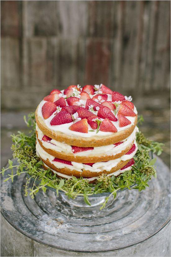 Strawberry Wedding Cakes  Naked strawberry wedding cake