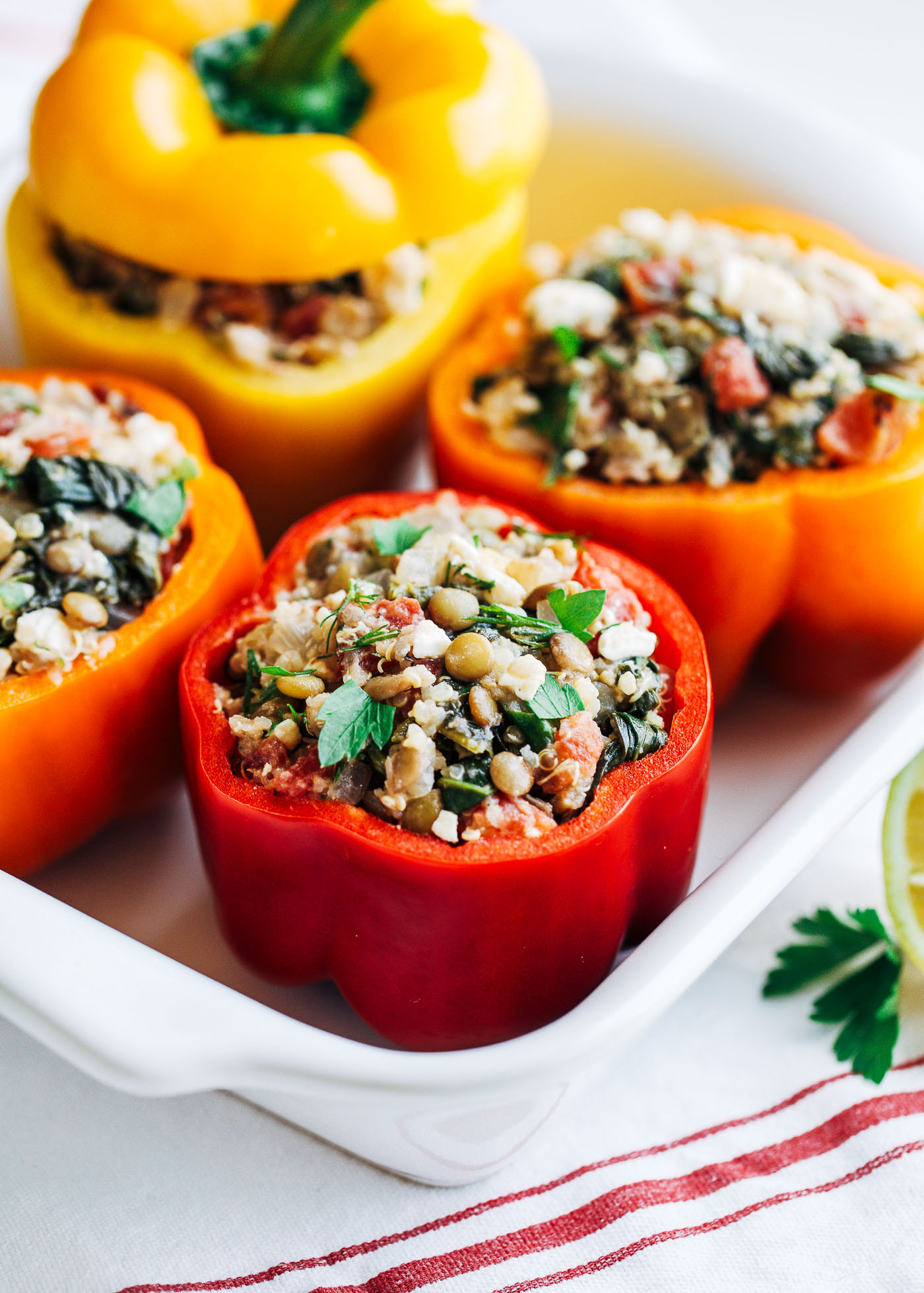 Stuffed Bell Peppers Healthy  Mediterranean Quinoa Stuffed Peppers Making Thyme for Health