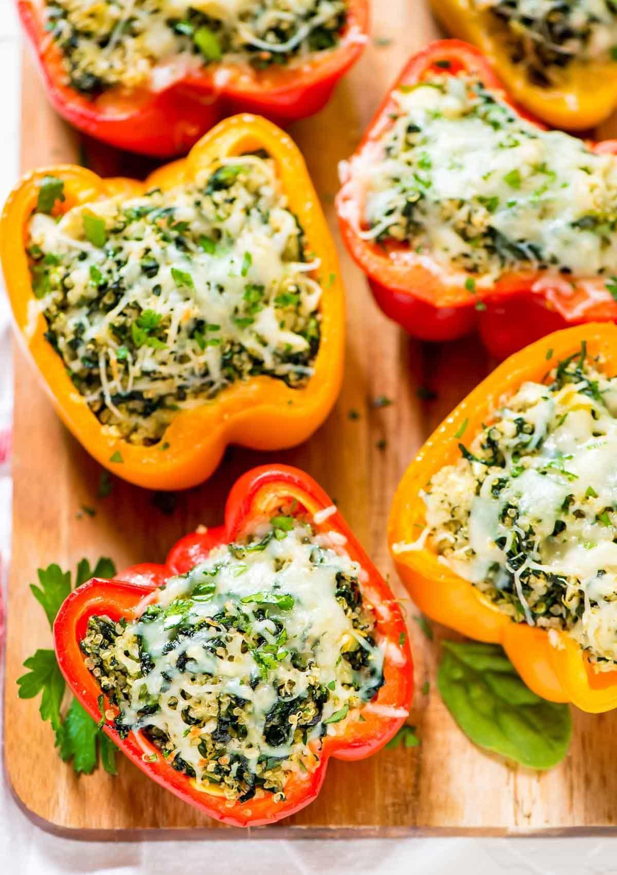 Stuffed Bell Peppers Healthy  Spinach Artichoke Quinoa Stuffed Bell Peppers