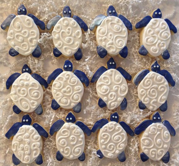Sugar Cookies Wedding Favors  Sea Turtle Wedding Favor Sugar Cookie