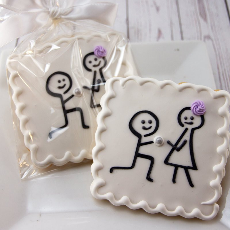 Sugar Cookies Wedding Favors  Engagement Cookies Wedding Cookies Stick Figure 12