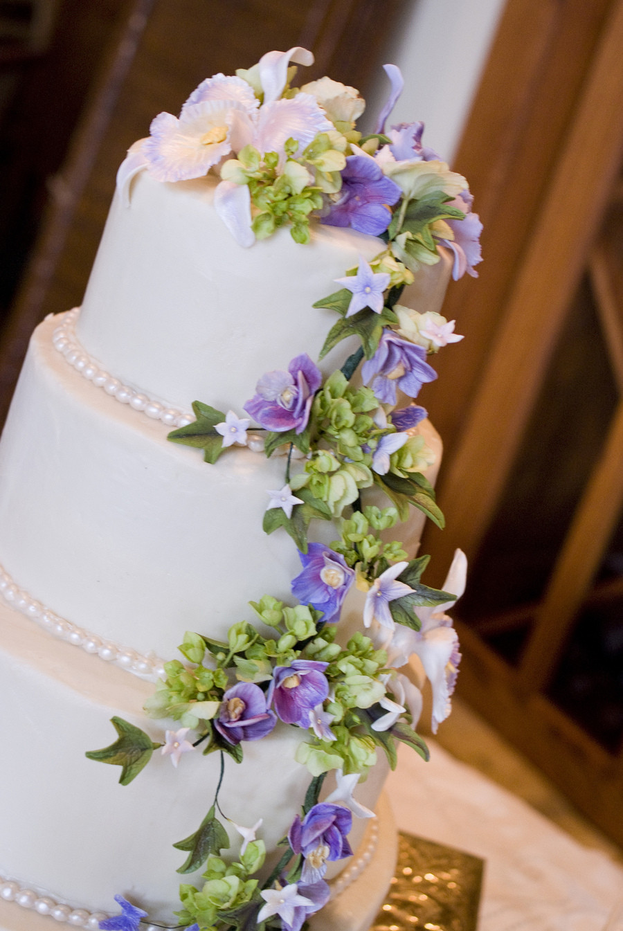 Sugar Flowers Wedding Cakes  Purple Orchid Sugar Flower Wedding Cake CakeCentral