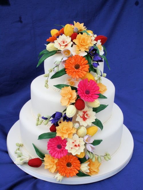 Sugarcraft Flowers Wedding Cakes  Rainbow Sugarcraft Spring Wedding Cakes