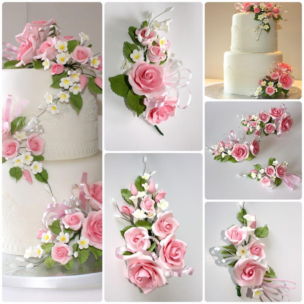 Sugarcraft Flowers Wedding Cakes  OPEN ROSE SPRAY PINK S M L Sugar Flowers Cake Topper