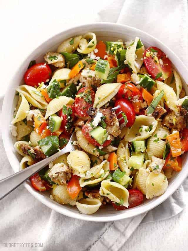 Summer Chicken Pasta Salad  Greek Chicken Pasta Salad Bud Bytes