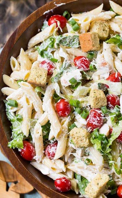 Summer Chicken Pasta Salad  Easy Summer Caesar Pasta Salad